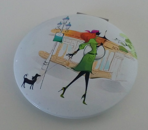 Compact Mirror Lady Walking a Dog H
