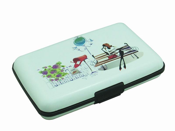 Card Holder Lady Relaxing on a Bench A