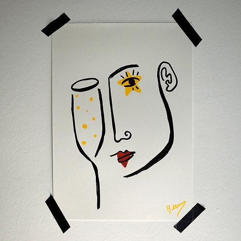 Glass of Bubbles Hand Drawn Artwork