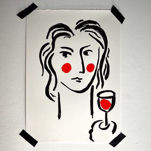 Woman and Red Wine Glass Artwork