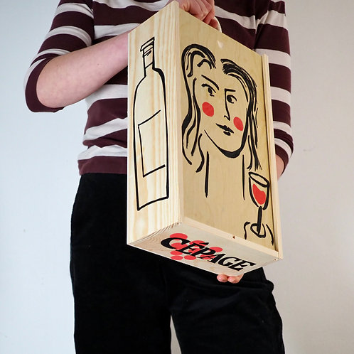 Red Hand-Painted Wooden Wine Box