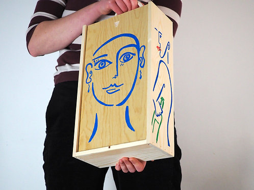 Blue Hand-Painted Wooden Wine Box