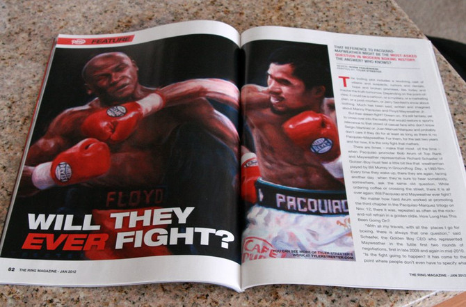 """Right Hook"" painting featured with lead story in The Ring Magazine"