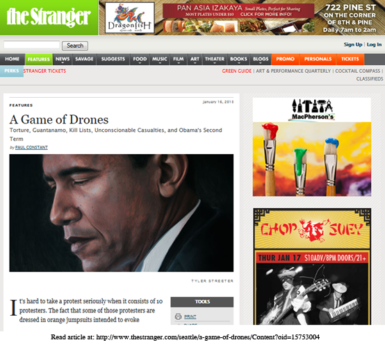 Obama painting featured with lead story on the homepage of the Stranger