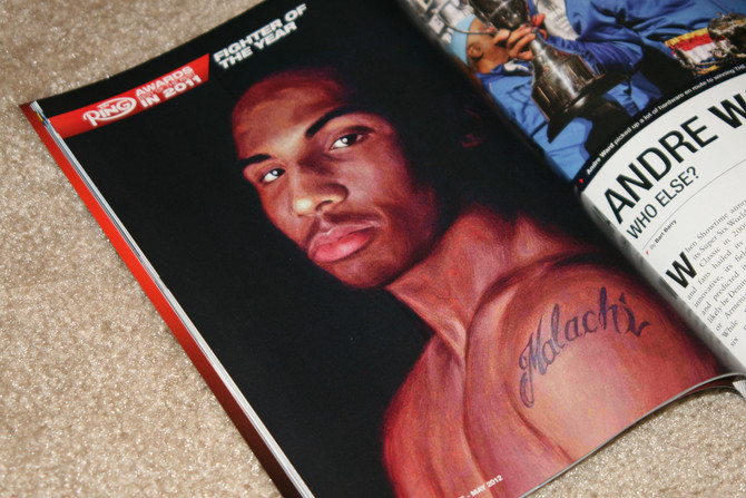 """Malachi"" painting accompanies fighter of the year story in The Ring Magazine"
