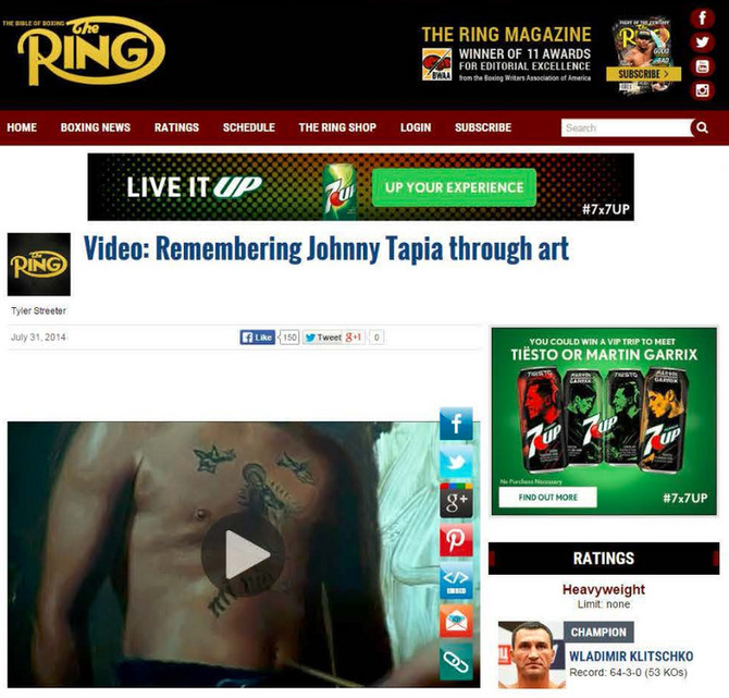 """Johnny"" timelapse movie featured on The Ring Magazine"