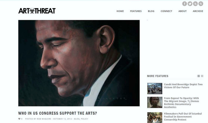 Obama painting featured with lead story on the homepage of Art Threat