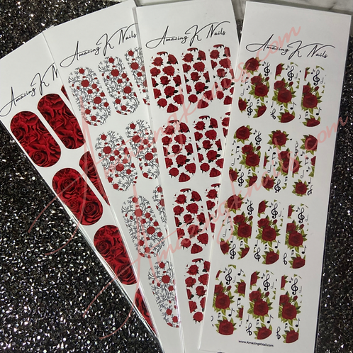 RED ROSE WATER DECALS