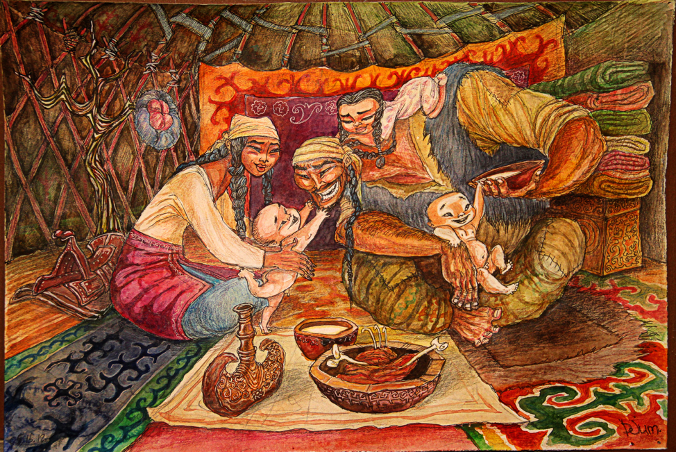 A family in a traditional yurt.