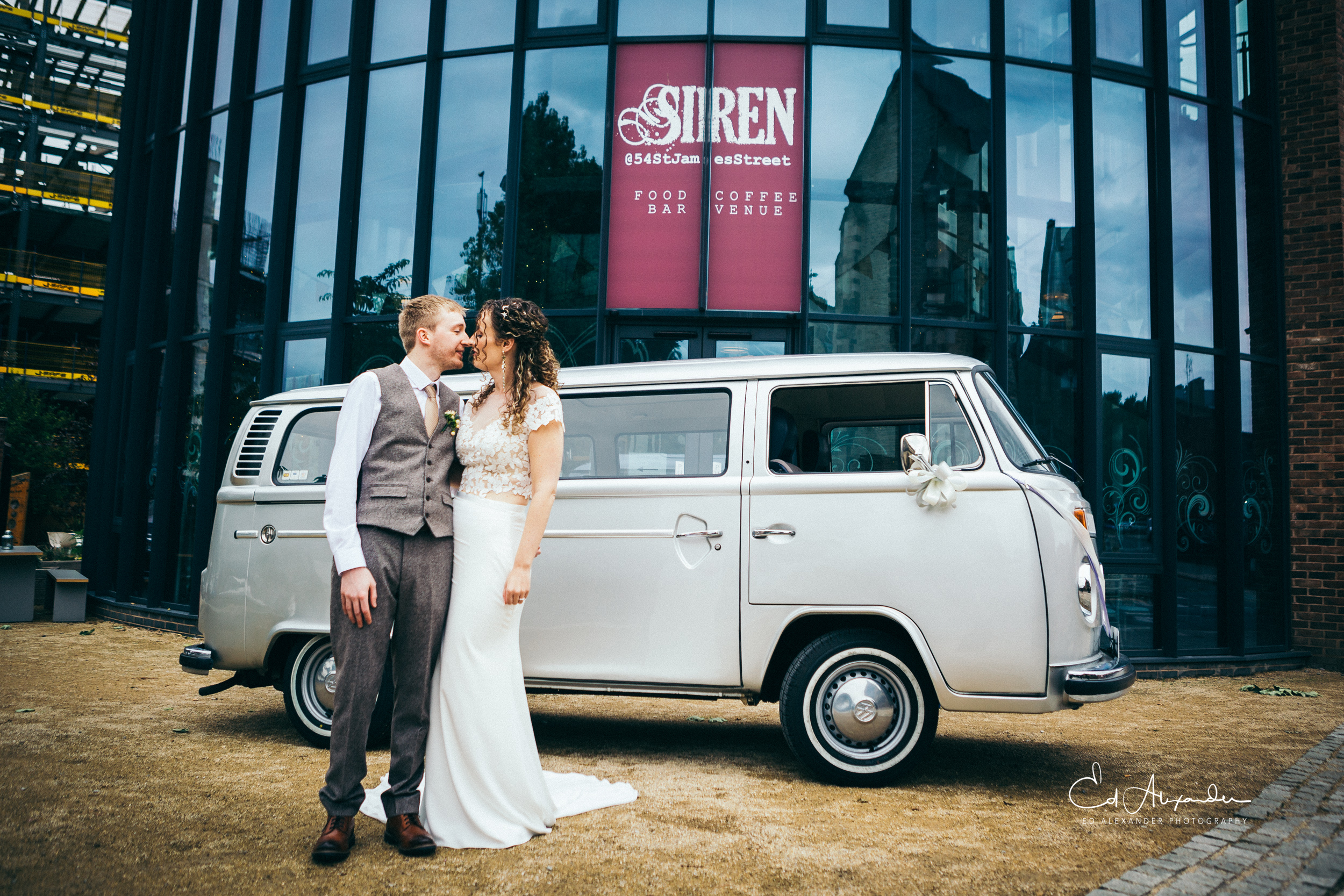 liverpool wedding photography bride groom campervan vw