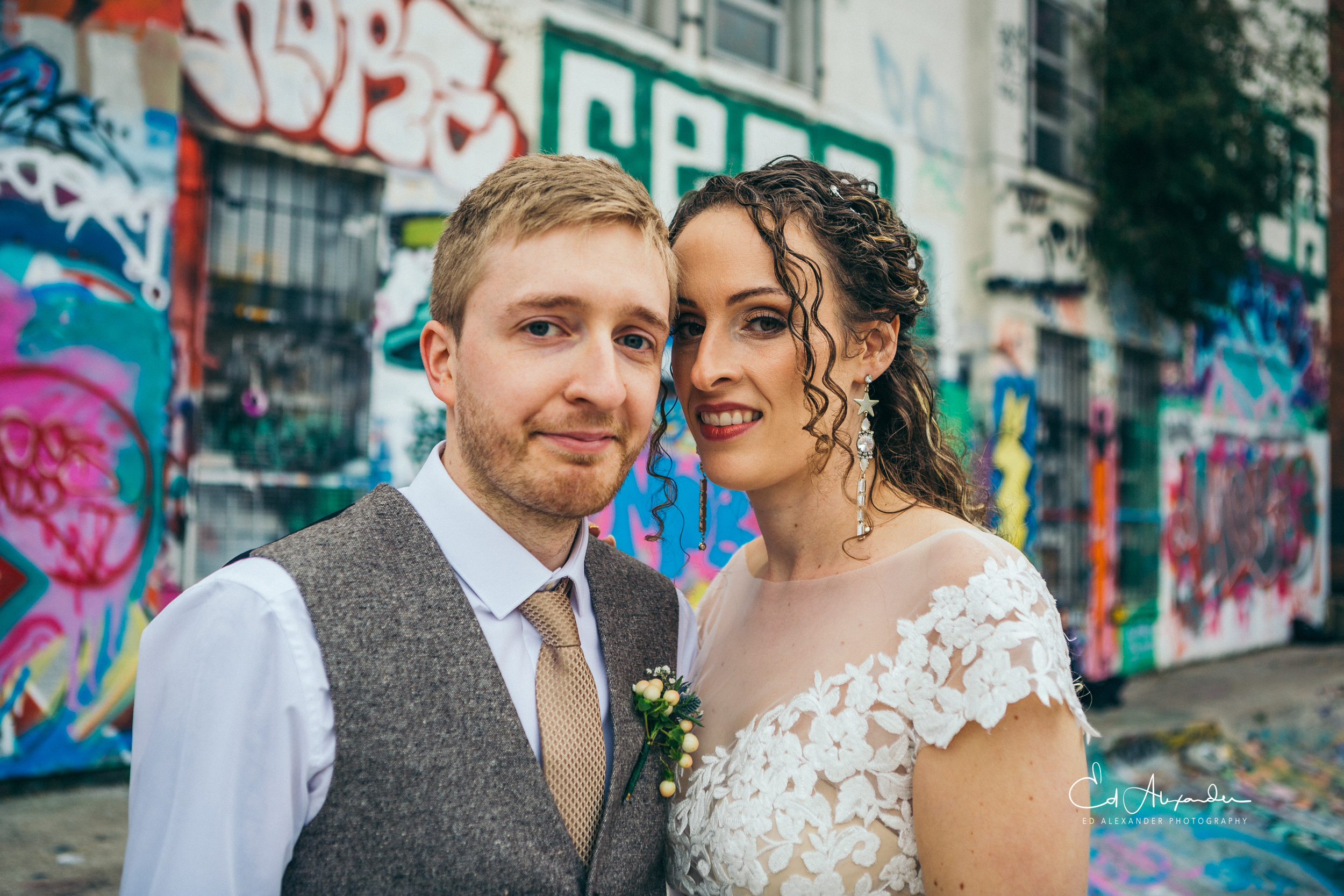 liverpool wedding photography bride groom graffitti