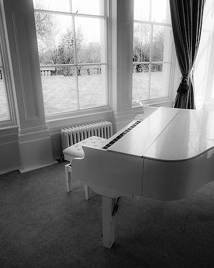 wedding white baby grand piano shell hire