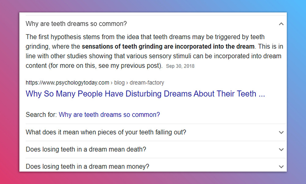 Google About Teeth, Dentists, and Orthodontists