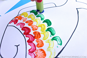 Celery stamping rainbow fish craft from Crafty Morning