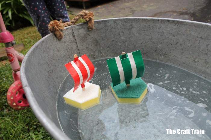 Super easy sponge boats from the Craft Train