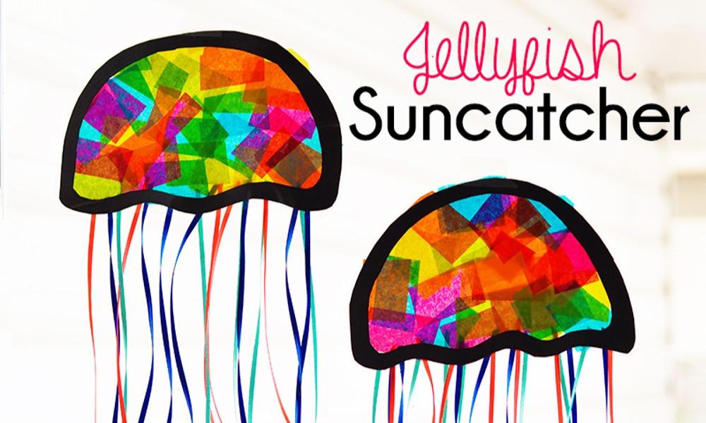 Jellyfish suncatchers from IHeartArtsNCrafts