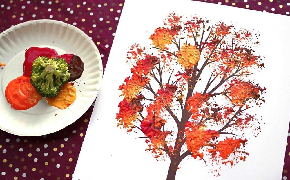 Broccoli-Stamped Fall Tree