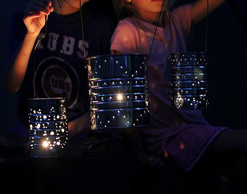Tin can lanterns with constellations from HGTV Design/Inventors of Tomorrow