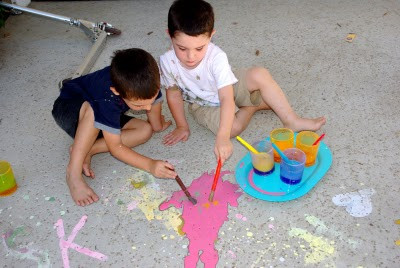 DIY Sidewalk chalk paint from Happiness is Homemade