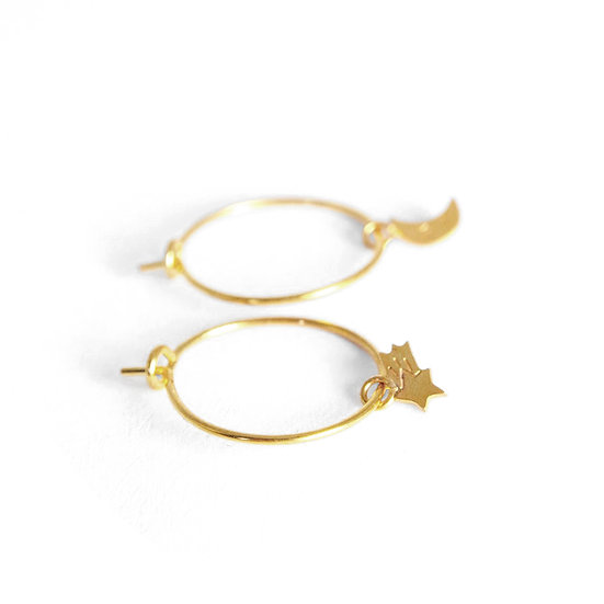 ADORABILI Moon Stars Hoop Earrings