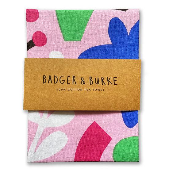 BADGER & BURKE Pink Shapes Tea Towel