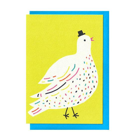 THE PRINTED PEANUT Hat Bird Card