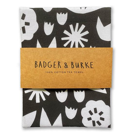 BADGER & BURKE Black Floral Tea Towel