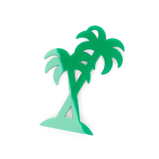 SCENERY LABEL Palm Brooch Green