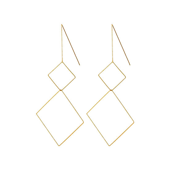 JUULRY Double Square Earrings Gold