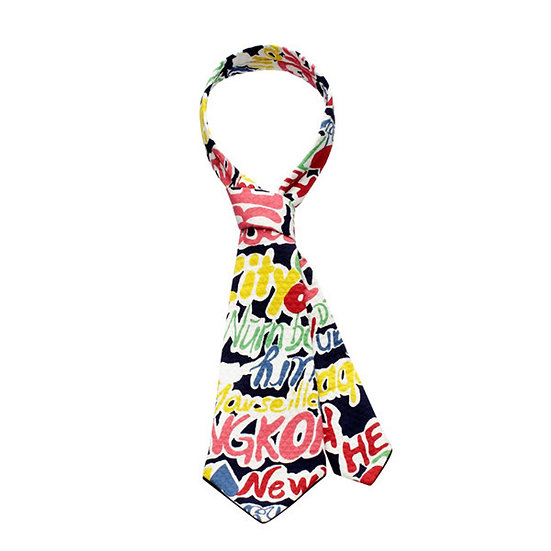 SCENERY LABEL Short Necktie Graffiti