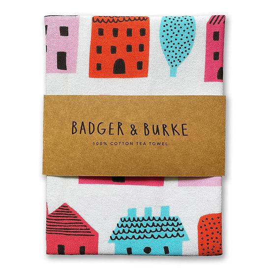 BADGER & BURKE Little Houses Tea Towel