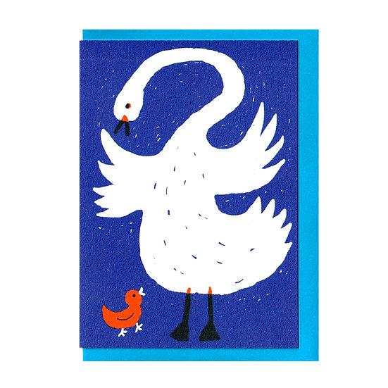 THE PRINTED PEANUT Swan Baby Card