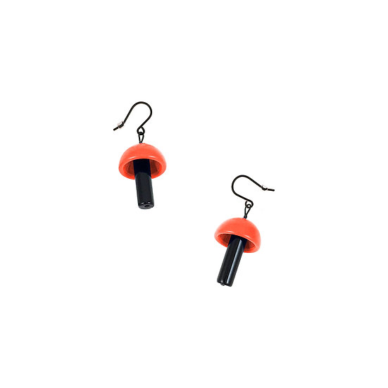 SCENERY LABEL Drop Earrings Orange Mushroom
