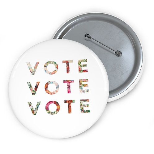 VOTE (Blooming) | White | Pin Button