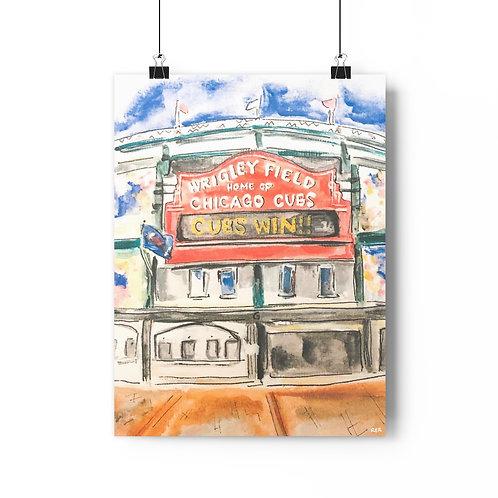 Wrigley Field Watercolor Fine Art Print