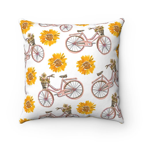 Sunflowers and Bikes Square Pillow