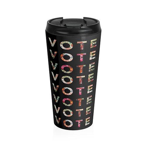 VOTE (Blooming) | Black | Stainless Steel Travel Mug