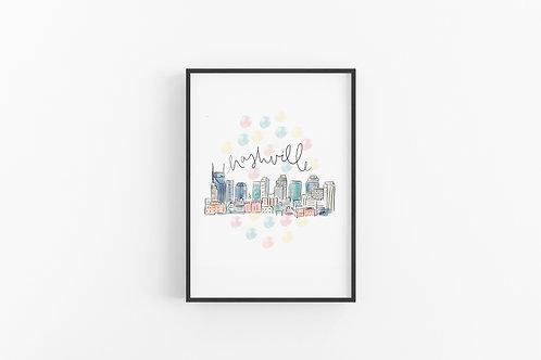 Nashville Skyline Fine Art Print
