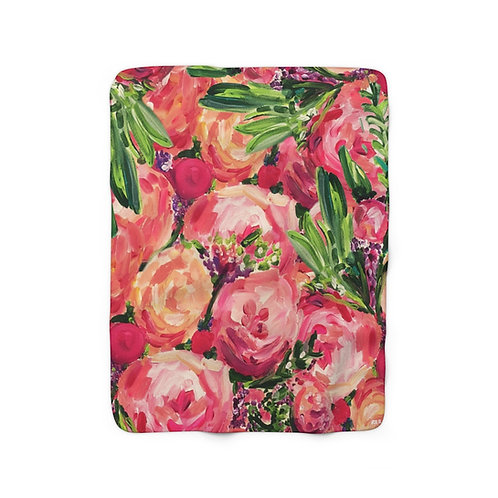 Pretty Peonies Sherpa Fleece Blanket