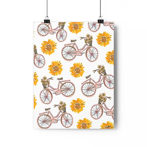 Sunflowers and Bikes Fine Art Print