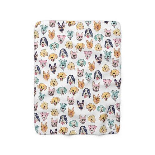 Colorful Dogs Sherpa Fleece Blanket