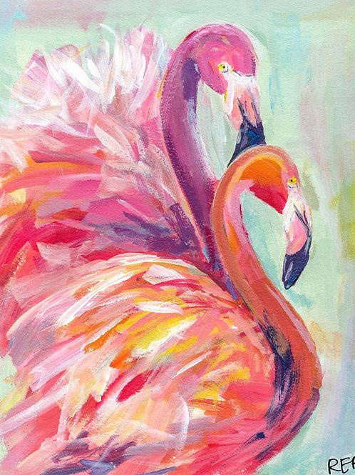 Flamingo Together Original Painting