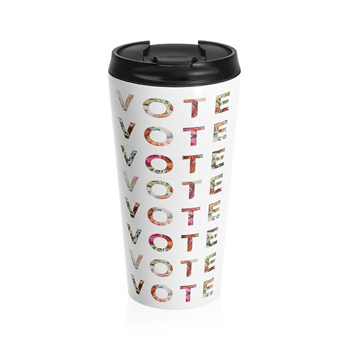 VOTE (Blooming) | White | Stainless Steel Travel Mug
