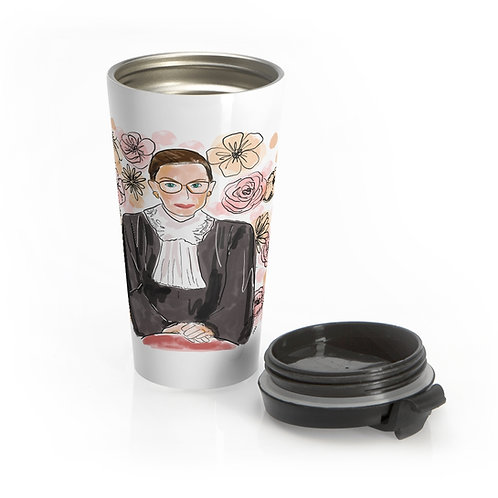 RBG Floral | Donate to ACLU | Stainless Steel Travel Mug