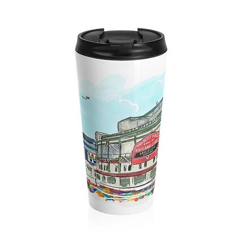 Wrigley Field Pride Stainless Steel Travel Mug