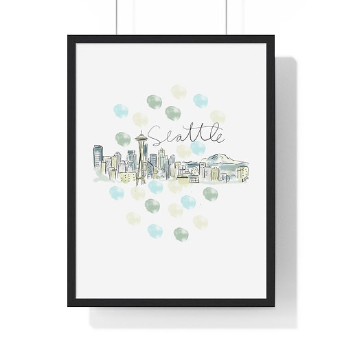 Seattle Skyline Fine Art Print (Framed)