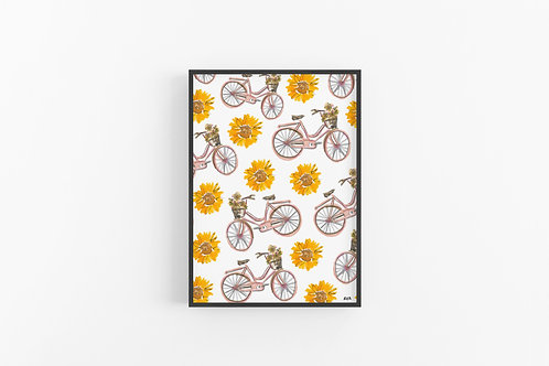 Sunflowers and Bikes Fine Art Print