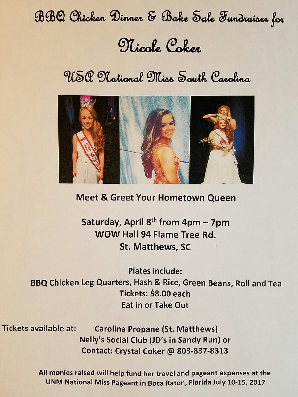USA National Miss South Carolina, Nicole Coker