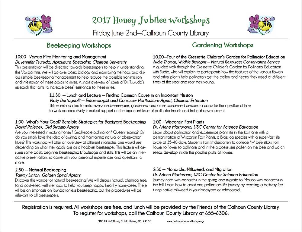 Honey Jubilee Workshop Schduled
