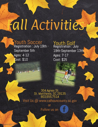CCRD Fall Activities Registration Going Very Well:  There's still time to register!